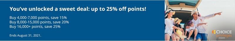 Ermäßigung von 25% beim Kauf von Choice Punkten bis 31.08.2021