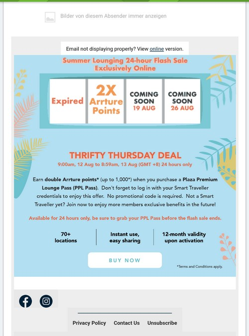 Plaza Premium Flash Sale am 12.08.2021: doppelte Punkte