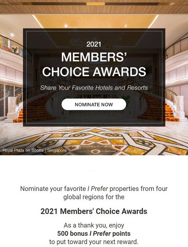500 iPrefer Punkte für die Abstimmung bei den Members Choice Awards bis 08.09.2021