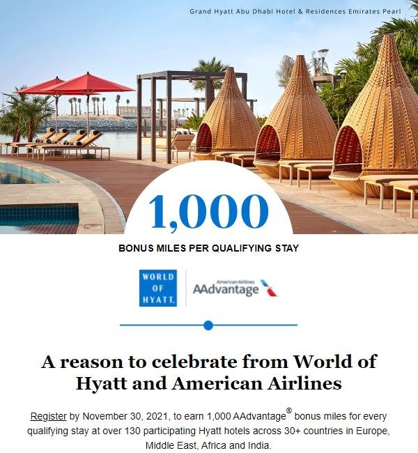1.000 American Airlines AAdvantage Meilen für jeden Aufenthalt in Hyatt Hotels bis 19.12.2021