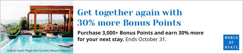 Es gibt einen 30% Bonus beim Kauf von World of Hyatt Punkten bis 31.10.2021