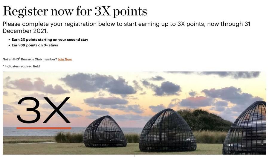 Bei IHG könnt Ihr zwischen 01.10.2021 und 31.12.2021 dreifache Rewards Club Punkte sammeln, ab dem dritten Aufenthalt