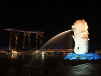 Singapore Merlion and Marina Bay Sands