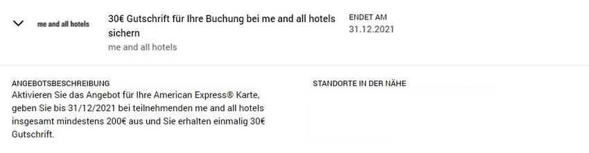 American Express Gutschrift von 30 EUR bei den me and all Hotels bis 31.12.2021
