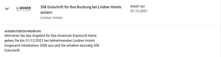 American Express Gutschrift von 30 EUR bei den Lindner Hotels bis 31.12.2021