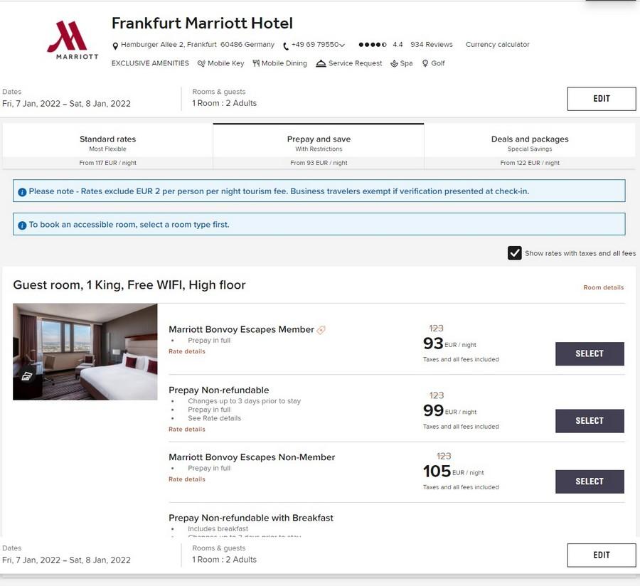 Marriott Frankfurt Bonvoy Escapes Raten im Rahmen der Week of Wonders bis 14.10.2021 mit 25% Ersparnis für Aufenthalte bis 17.01.2021