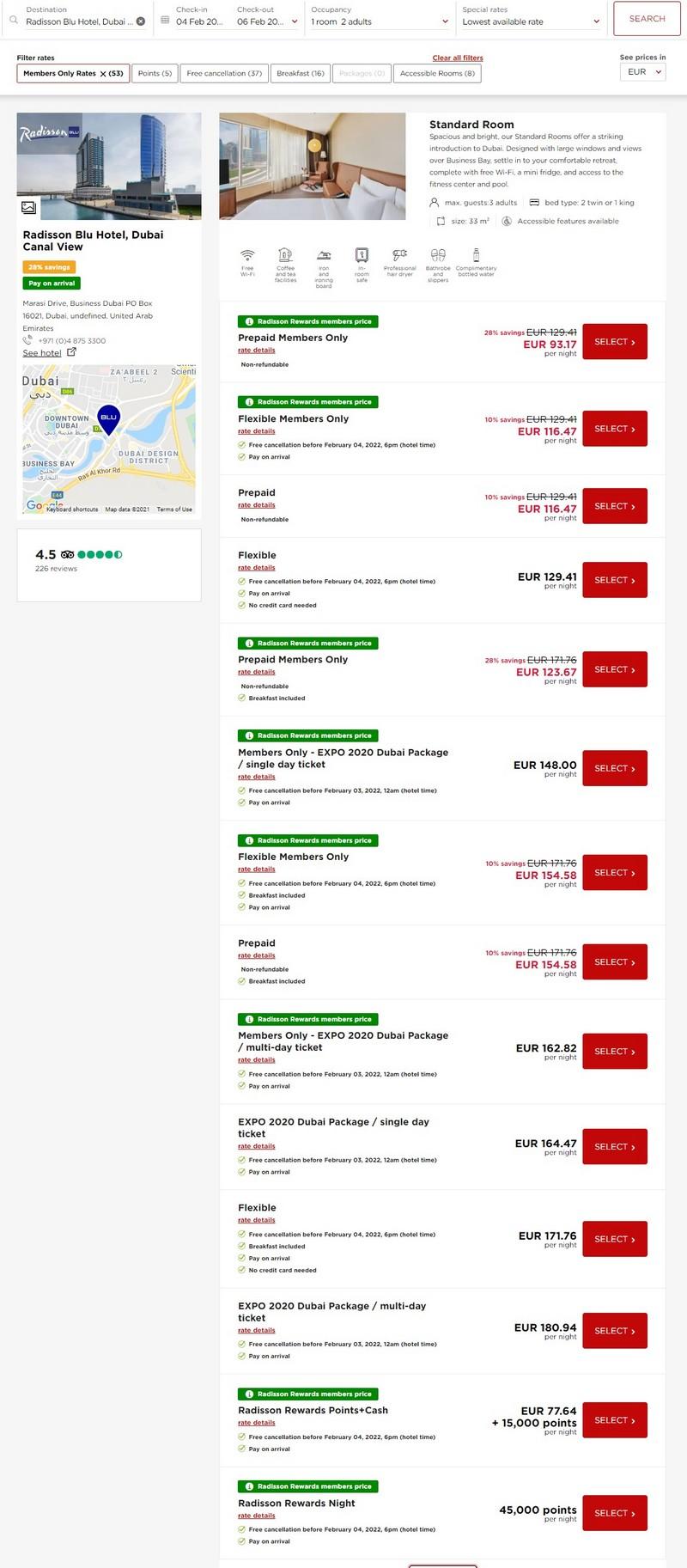 Preisbeispiel Radisson Blu Dubai Canal View - Vergleich aller Raten