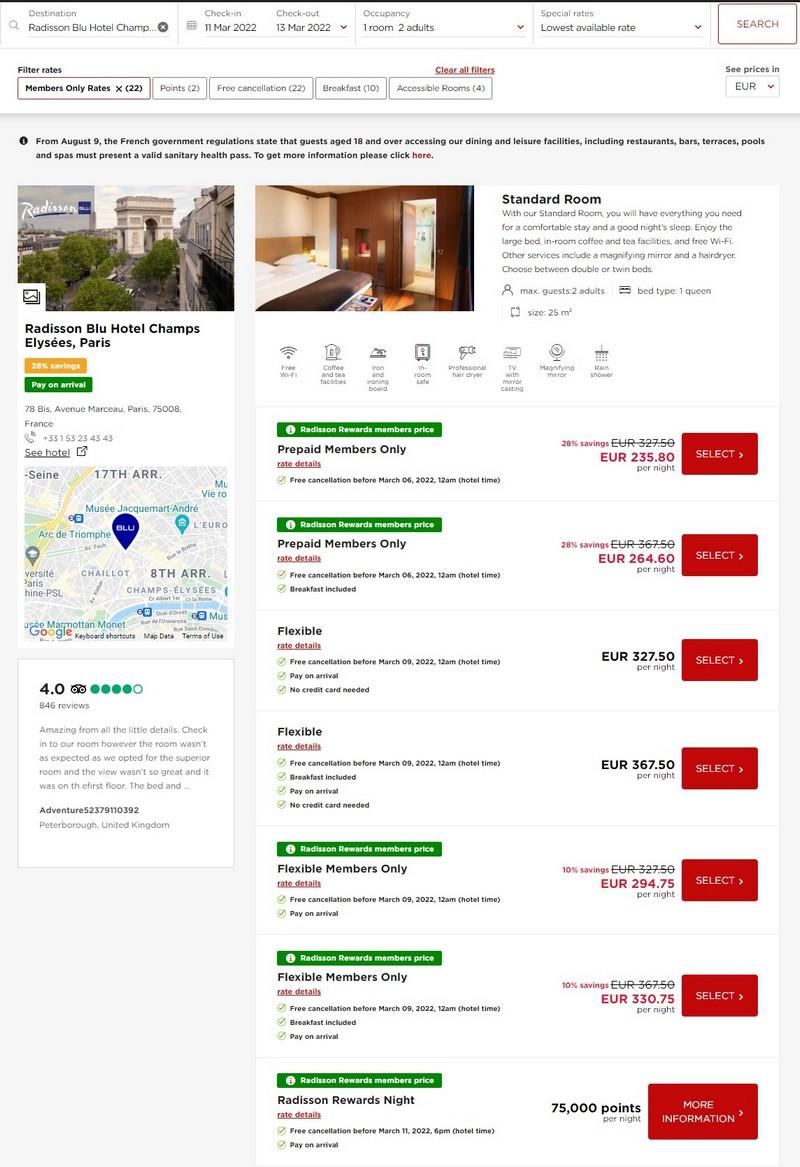 Preisbeispiel Radisson Blu Paris Champs Elysées - Vergleich aller Raten