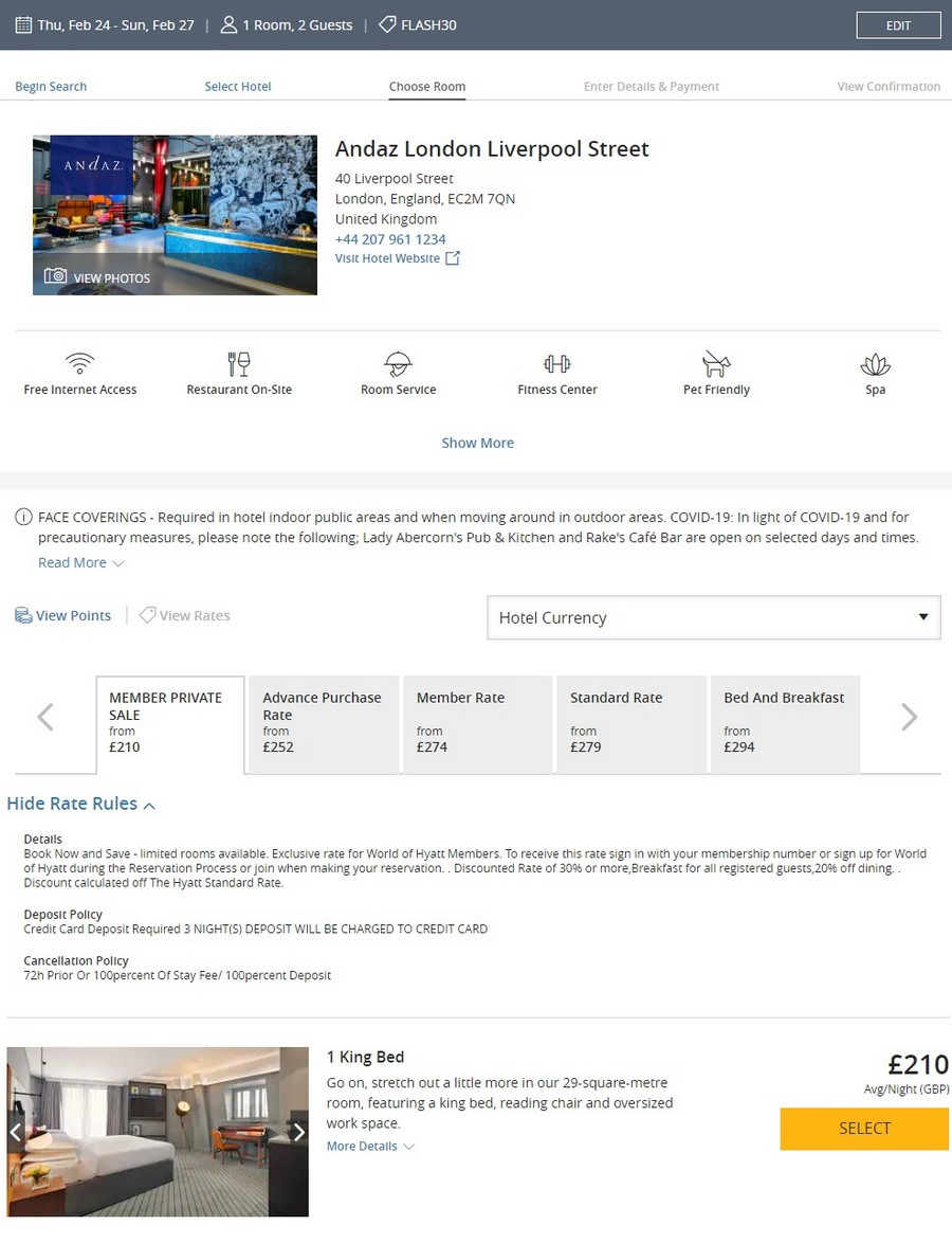 Preisbeispiel beim Hyatt Flash Sale im Andaz London Liverpool Street Station bei Buchung bis 18.10.2021