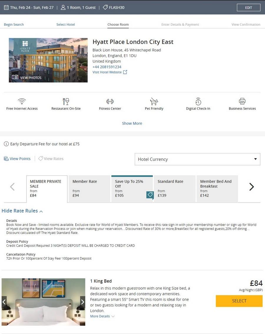 Preisbeispiel beim Hyatt Flash Sale im Hyatt Place London City East bei Buchung bis 18.10.2021