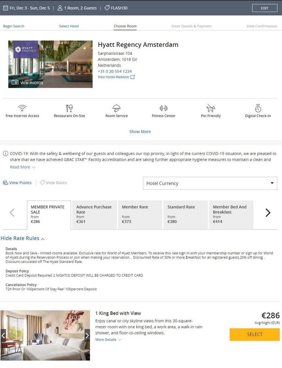 Preisbeispiel beim Hyatt Flash Sale im Hyatt Regency Amsterdam bei Buchung bis 18.10.2021