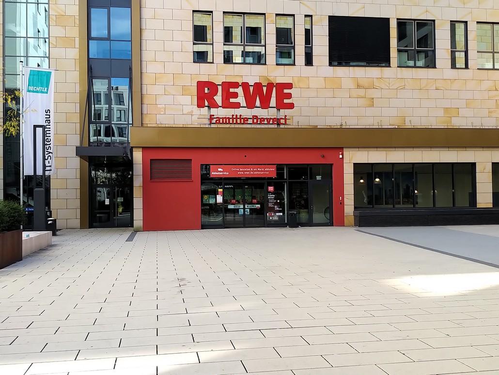 Rewe Geschäft in den Gateway Gardens am Flughafen Frankfurt